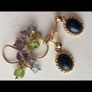 Jewelry - TWO PETITE PAIR 14K GEMSTONE EARRINGS